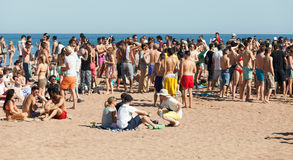 Open air party on Sant Adria beach. BARCELONA, SPAIN - JUNE 16: Open air party on Sant Adria beach in June 16, 2013 in Barcelona, Spain. Mediterranean coast has royalty free stock photo