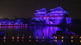 Open air performance and light show in Kaifeng, capital of China's Song Dynasty Royalty Free Stock Images