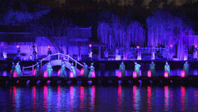 Open air performance and light show in Kaifeng, capital of China's Song Dynasty Royalty Free Stock Photos