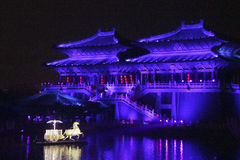 Open air performance and light show in Kaifeng, capital of China's Song Dynasty Stock Image