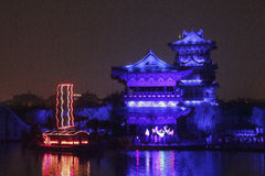Open air performance and light show in Kaifeng, capital of China's Song Dynasty Stock Photo