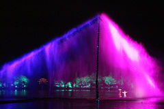 Open air performance and light show in West Lake, China Royalty Free Stock Photography