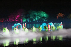 Open air performance and light show in West Lake, China Stock Image