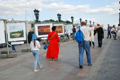 Open air photography exhibition in Moscow. Royalty Free Stock Photography