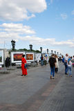 Open air photography exhibition in Moscow. Royalty Free Stock Image