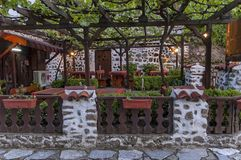 Open-air restaurant in ancient Melnik town. Bulgaria royalty free stock images