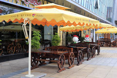 Open air restaurant Stock Images