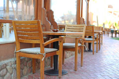 Open air restaurant in egyptian all inclusive resort Stock Photos