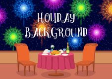 Open-Air Restaurant with Fireworks Royalty Free Stock Photos