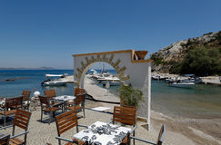 Open air restaurant, Kolymbia, Rhodes Stock Photos