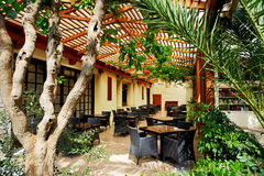 Open-air restaurant at luxury hotel Royalty Free Stock Photos