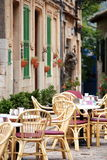 Open-air restaurant in a town street Stock Photo