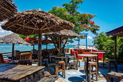 Open air seafood restaurant with beautiful sea view Royalty Free Stock Image