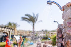 Open air shower at a tropical resort Royalty Free Stock Image