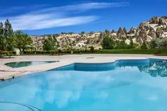 Open air swimming pool, Goreme, Cappadocia, Turkey Stock Photo