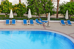 Open air swimming pool at resort royalty free stock photos