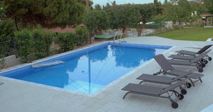 Open-Air Swimming Pool in Villa or Hotel stock footage