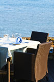 Open-air table setting for meals Royalty Free Stock Photos