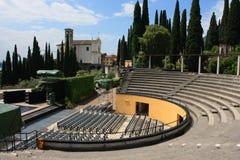 Open air theatre. In Gabriele D Annunzio II Vittoriale's garden stock photos