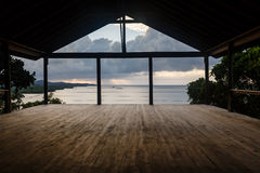 Open air Yoga studio classroom at water's edge in Caribbean ready for class Royalty Free Stock Photos
