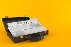 Open aktentas met krant stock illustratie