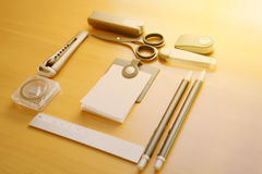 Open album with school supplies on the table Royalty Free Stock Photography