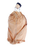 Open alcohol bottle in paper bag. Royalty Free Stock Photo