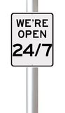 Open All Day Every Day. A modified speed limit sign indicating Open 24/7 Royalty Free Stock Image