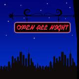 Open all night. Neon sign for shops, restaurants, casinos, clubs that don't close for the night Royalty Free Stock Image