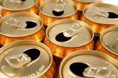 Open aluminum drink cans Royalty Free Stock Photo