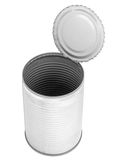 Empty metal food can. Open aluminum food can with contents and label removed.  Lid still attached Royalty Free Stock Photography