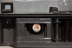 Open analog camera Stock Photo