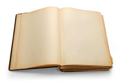 Open ancient book with blank pages. Royalty Free Stock Images