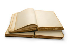 Open ancient book with blank pages. Stock Photos