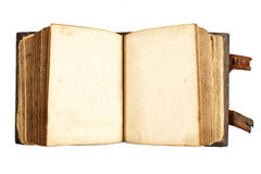 Open ancient book with blank pages isolated on white Royalty Free Stock Image
