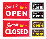 Open And Closed Store Signs Stock Images
