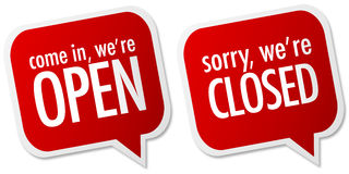 Open And Closed Store Signs Stock Photo
