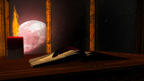Open antique book and burning candle on red moon background Royalty Free Stock Photo