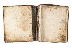 Open antique book with grungy pages stock image