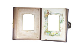 Open Antique Photo Album with Age Stained Pages Stock Photography