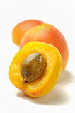 Open apricot with seed  Royalty Free Stock Image