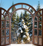 Open arched door with views of the natural landscape Royalty Free Stock Photos