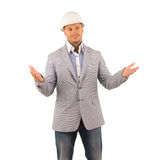 Open Armed Middle Age Engineer in Gray Coat Royalty Free Stock Photo