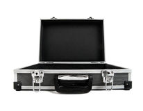 Open armored black case for money. On white background; isolated Royalty Free Stock Photos
