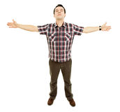 Open arms. Young casual man with open arms, isolated Stock Photos