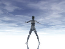 Open arms. Man figure with open arms under cloudy blue sky - 3d illustration Stock Photography