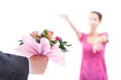 With open arms. A woman waiting for a pink bouquet with her arms open Stock Photo