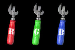 Open art threesome rgb. Opener bottle Royalty Free Stock Image