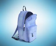 Open Backpack bag school 3d render on blue gradient Stock Photography