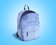 Open Backpack bag school 3d render on blue gradient. Image close up vector illustration